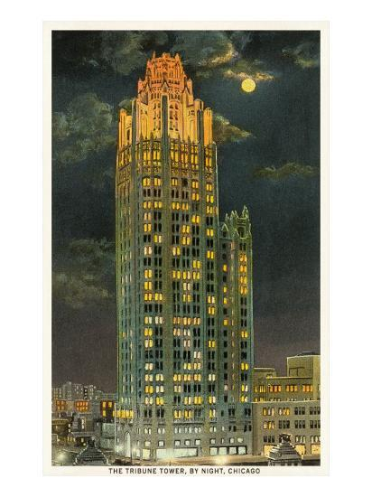 Tribune Tower by Night, Chicago, Illinois--Art Print