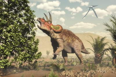 Triceratops Grazing on a Magnolia Tree-Stocktrek Images-Art Print