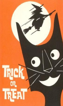 Trick or Treat, Cartoon Cat, Witch by Moon