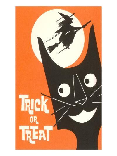 Trick or Treat, Cartoon Cat, Witch by Moon--Art Print