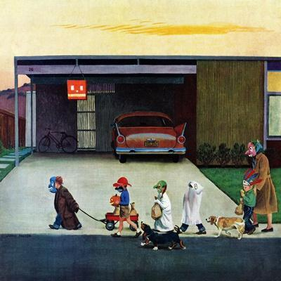 """Trick-Or-Treating in the Burbs"", November 1, 1958-John Falter-Premium Giclee Print"
