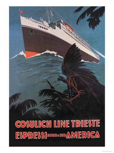 Trieste Cruise Line to North and South America-A. Dondov-Art Print