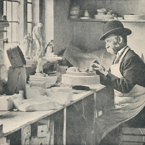 'Trimming up parts of raw clay', c1917-Unknown-Photographic Print