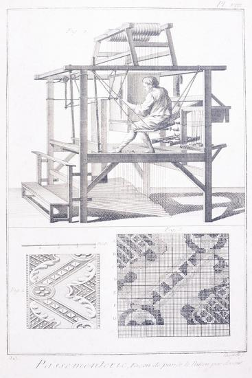Trimmings, Plate Showing Worker at Loom: Method to Pass Pattern in Front from Denis Diderot--Giclee Print