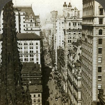 Trinity Church and Broadway, New York, Usa-Underwood & Underwood-Photographic Print