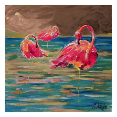 Trio Flamingos-Anne Ormsby-Art Print