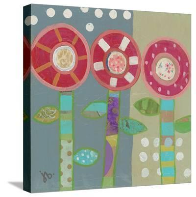 Trio Of Red Flowers-Julie Beyer-Stretched Canvas Print