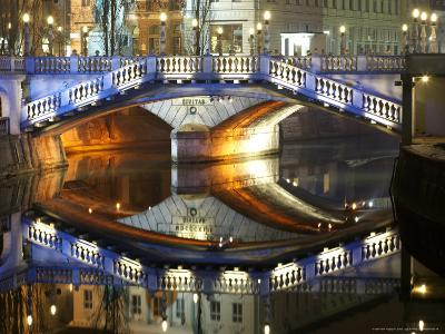 Triple Bridge at Night, Slovenia-David Clapp-Photographic Print