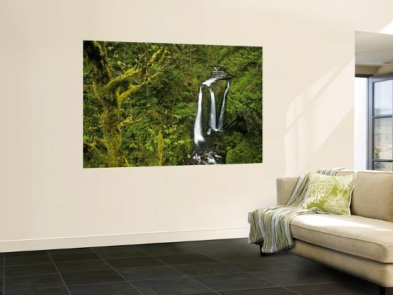 Triple Falls in the Mount Hood National Forest, Oregon, USA-Chuck Haney-Wall Mural