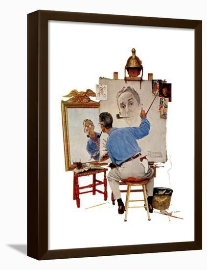 """""""Triple Self-Portrait"""", February 13,1960-Norman Rockwell-Framed Stretched Canvas Print"""