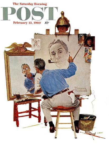 """Triple Self-Portrait"" Saturday Evening Post Cover, February 13,1960-Norman Rockwell-Premium Giclee Print"