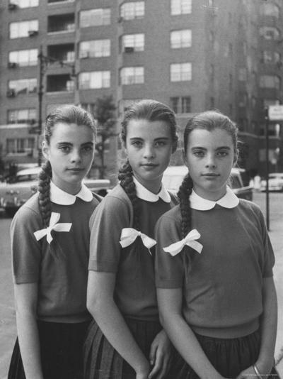 Triplets Christina Dees and Megan Dees Modeling Their Braids Before Getting Hair Cuts-Nina Leen-Photographic Print