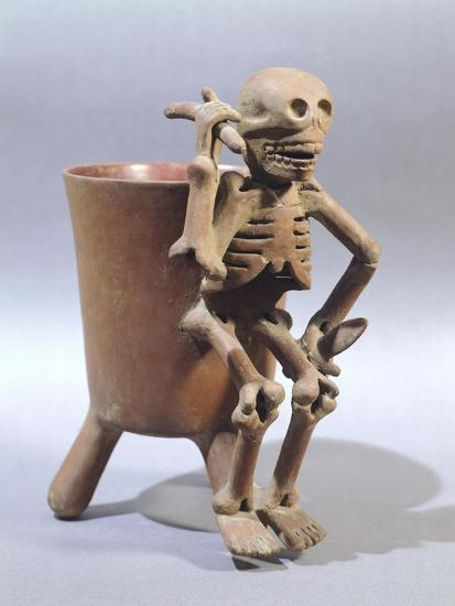 Tripod Vase Showing a Skeleton, Artifact Originating from Mexico--Giclee Print