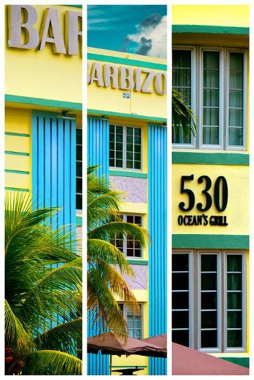 Triptych Collection - Art Deco Architecture - Ocean Drive - Miami Beach - Florida-Philippe Hugonnard-Photographic Print