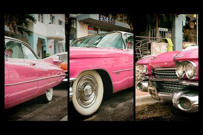 Triptych Collection - Classic Antique Pink Cadillac of Art Deco District - Miami - Florida-Philippe Hugonnard-Wall Mural