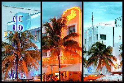 Triptych Collection - Colorful Ocean Drive - South Beach - Miami Beach Art Deco Distric - Florida-Philippe Hugonnard-Photographic Print