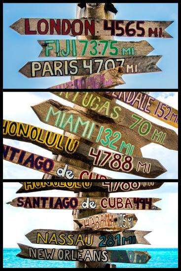Triptych Collection - Destination Signs - Key West - Florida-Philippe Hugonnard-Photographic Print