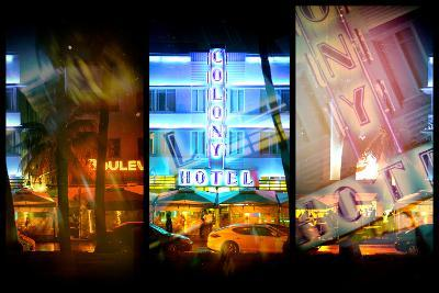 Triptych Collection - Miami Beach Art Deco District - The Colony Hotel by Night-Philippe Hugonnard-Photographic Print