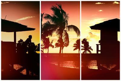 Triptych Collection - Silhouette of Life Guard Station at Sunset - Miami-Philippe Hugonnard-Photographic Print