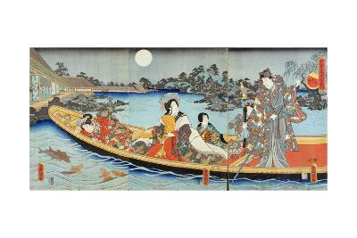 Triptych Depicting a Prince, Princess and Court Ladies Boating on a Garden Pond under a Full Moon?-Utagawa Kunisada-Giclee Print