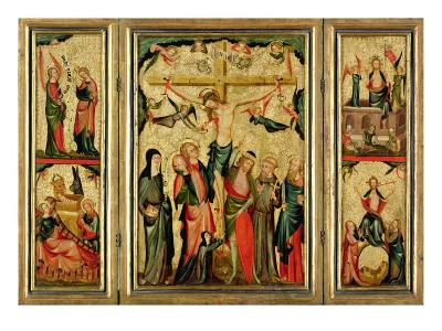 Triptych Depicting the Crucifixion of Christ, c.1350--Giclee Print