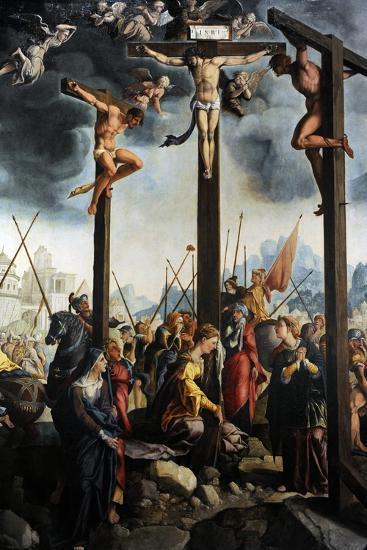 Triptych of the Crucifixion, 1535, by Jan Van Scorel (1495-1562). Netherlands-Jan van Scorel-Giclee Print