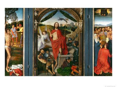 Triptych of the Resurrection with Saint Sebastian (Left Wing) and Ascension of Christ (Right Wing)-Hans Memling-Giclee Print