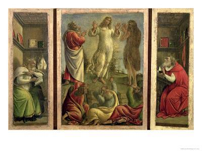 Triptych: Transfiguration, Jesus Appearing to His Disciples with Ss. Jerome and Augustine-Sandro Botticelli-Giclee Print