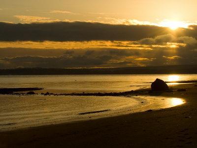 Double Bluff Beach at Sunset, Useless Bay, Whidbey Island, Washington, USA
