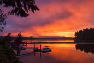 Dramatic Sunset Bainbridge Island Toward Olympic Mountains by Trish Drury