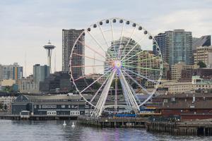 Rainbow Pattern Seattle Ferris Wheel Honoring Supreme Court Gay Marriage Decision by Trish Drury
