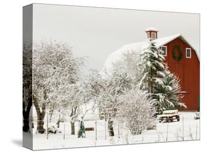 Red Barn in Fresh Snow, Whidbey Island, Washington, USA