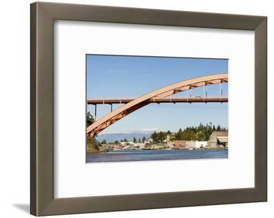 Us, Wa, La Conner. Rainbow Bridge Frames Entrance to Town on Swinomish Channel