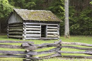 USA, Tennessee. Cades Cove, Great Smoky Mountain National Park Historic building Tipton Oliver blac by Trish Drury