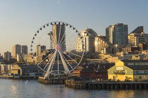 USA, Washington, Seattle. Seattle Great Wheel at Pier 57 by Trish Drury
