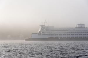 Washington State, Puget Sound. Ferry Emerges from Dense Fog by Trish Drury