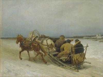 Troika in Winter, 1880S-Pyotr Petrovich Sokolov-Giclee Print