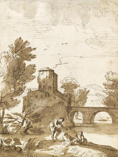 Trois baigneurs dans un paysage, avec un bâtiment près d'un pont-Giovanni Francesco Grimaldi-Giclee Print