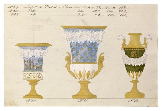 Trois vases en blanc du 1er choix, ca. 1800-1820-Honore-Art Print