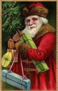 Postcard with Santa Claus Holding Presents by Trolley Dodger