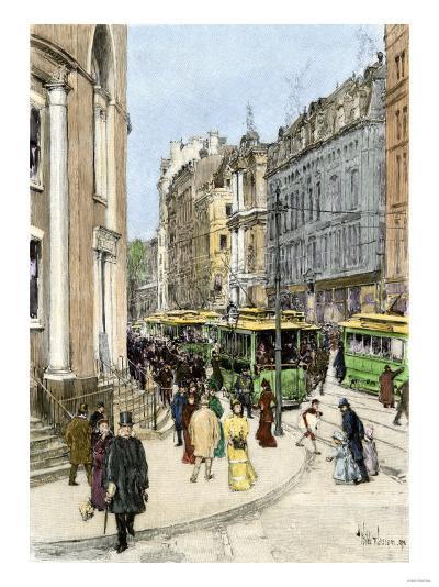 Trolleys on Tremont Street at the Corner of Park Street, Boston, 1890s--Giclee Print