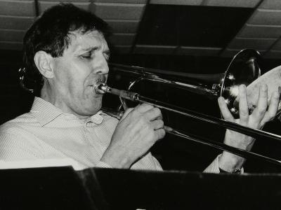 Trombonist Derek Wadsworth Playing at the Fairway, Welwyn Garden City, Hertfordshire, 28 July 1991-Denis Williams-Photographic Print