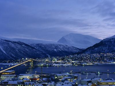Tromso and its Bridge to the Mainland at Dusk, Arctic Norway, Scandinavia, Europe-Dominic Harcourt-webster-Photographic Print