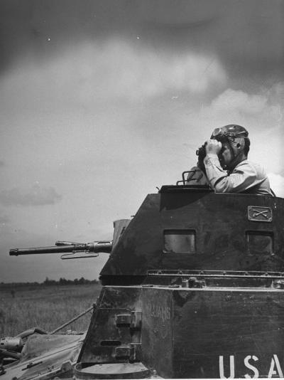 Troop Member Standing Up, Out of the Tank, Looking Through His Binoculars-John Phillips-Photographic Print