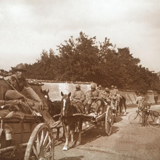 Troops in horse-drawn carts, Raux, France, c1914-c1918-Unknown-Photographic Print