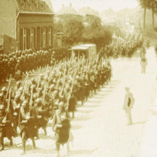 Troops marching, Alveringem, Flanders, Belgium, c1914-c1918-Unknown-Photographic Print