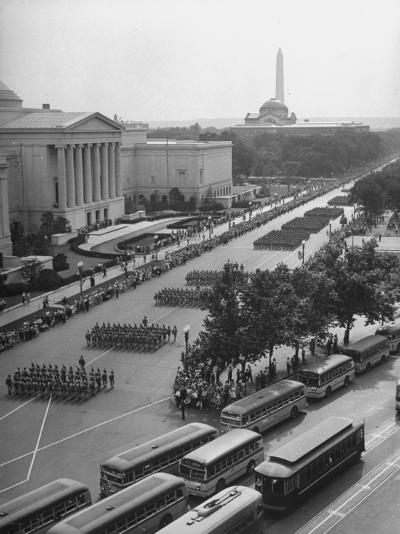 Troops Marching in the Memorial Day Parade, the Smithsonian and Washington Monument in Background--Photographic Print