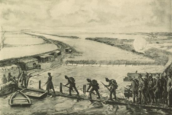Troops of the Marines Getting into Position, Walking over the Yser--Giclee Print