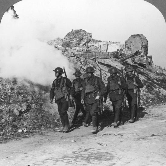 Troops Passing the Ruins of Monchy on the Way Up the Line, France, World War I, C1914-C1918--Photographic Print