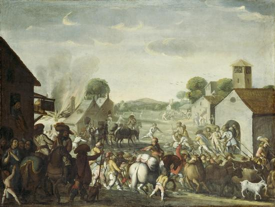 Troops Plundering a Village During the Thirty Year' War, 1660-Cornelis De Wael-Giclee Print